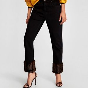 ZARA faux fur bottom jean
